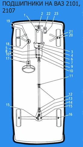 Схема включения электродвигателей стеклоочистителя и омывателя ветрового стекла ВАЗ 2106: 1 - аккумулятор; 2...